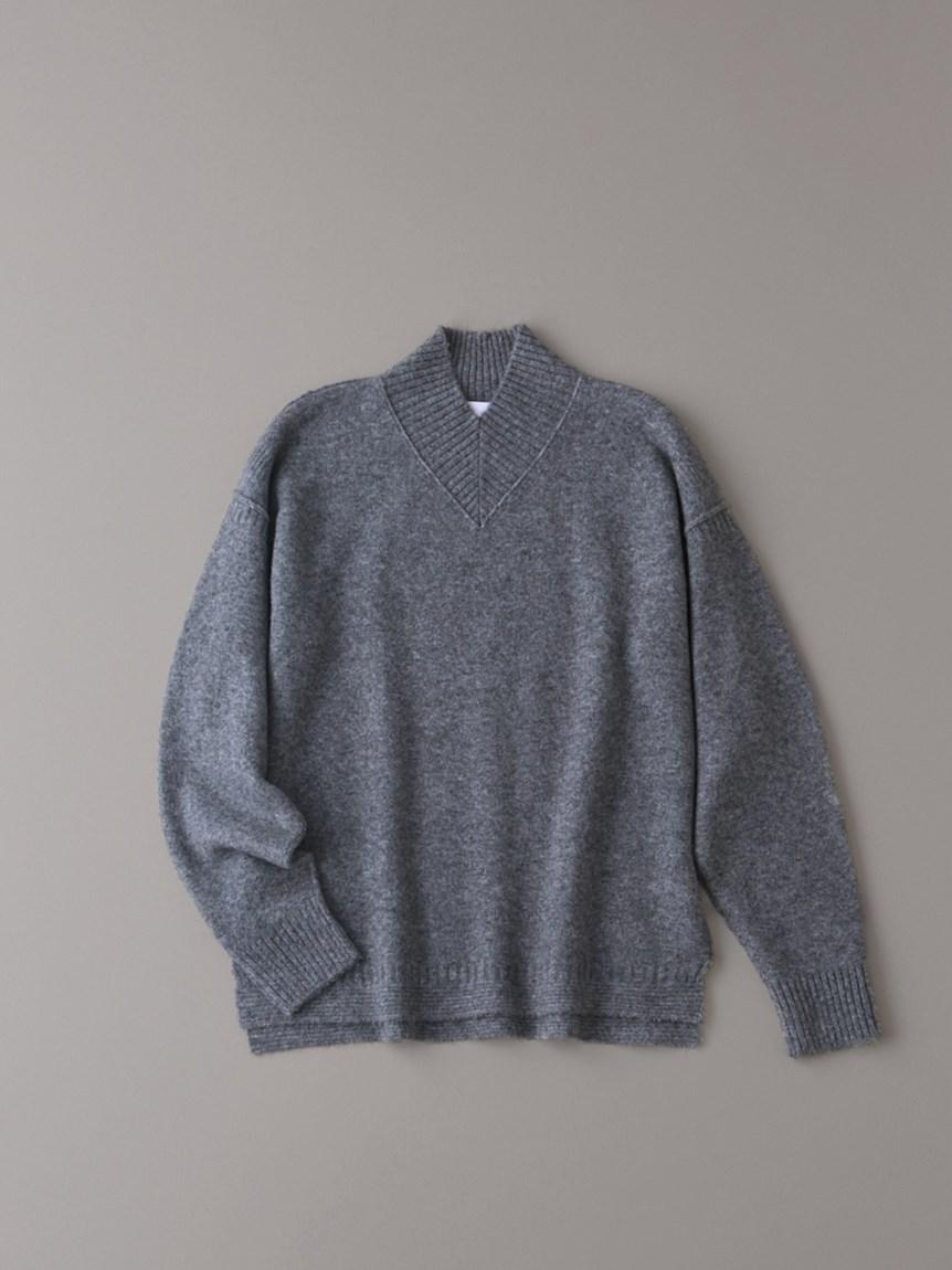Vハイネックセーター【メンズ】(GRY-1)
