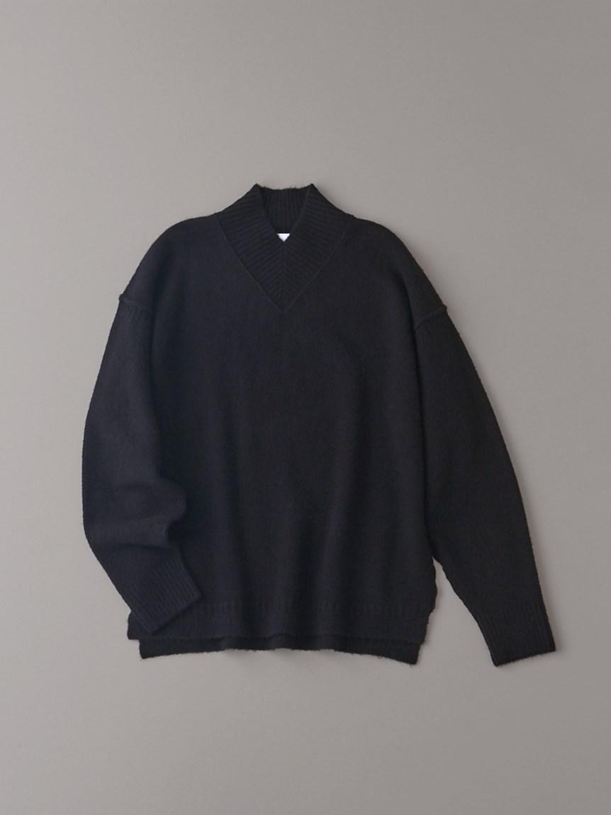 Vハイネックセーター【メンズ】(BLK-1)