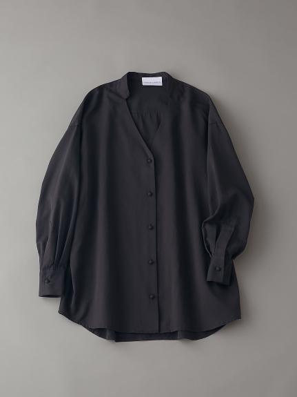オーガニックコットンバンドカラーシャツ【ウィメンズ】(BLK-F)