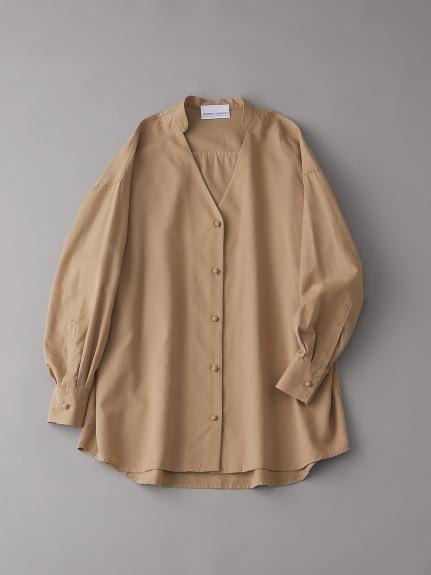 オーガニックコットンバンドカラーシャツ【ウィメンズ】(BEG-F)