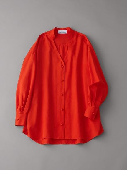 オーガニックコットンバンドカラーシャツ【ウィメンズ】(RED-F)